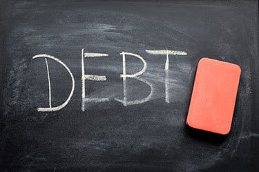 Chalkboard with the word debt