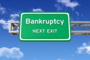Road sign for bankruptcy