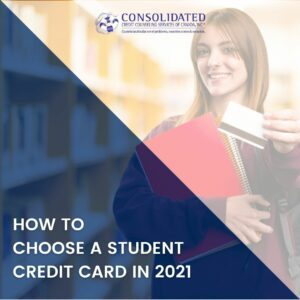 College girl holding a credit card
