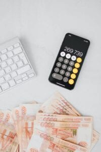 Currency, calculator and a keyboard